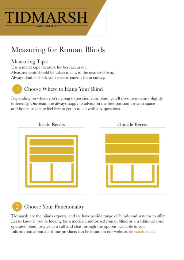 Measuring Guides by Tidmarsh Blinds
